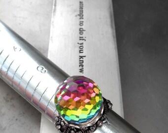 Vintage Swarovski Crystal Ball Ring, Rainbow Disco Ball Ring, Vintage Vitrail Fireball Crystal, Antiqued Silver Adjustable Ring, LGBT Pride