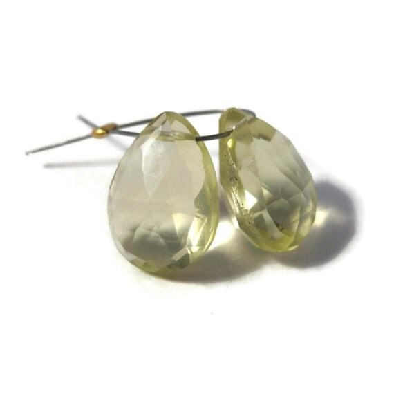 Two Lemon Quartz Beads, Natural Yellow Gemstone Briolettes, Matched Pair of Faceted Pear Shaped Gemstones (Pt-Lq4)