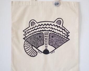 raccoon tote bag, trash panda