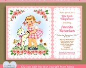 Little Lamb baby shower or birthday invitation / pretty blonde or brown hair girl with lamb / Instant Download #P-64H - editable text PDF