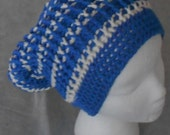 Crocheted Slouch Hat for Adult Slouch Hat for Man or Woman in Royal Blue and cream Beanie Slouch Hat for Man or Woman Unisex Slouch Hat