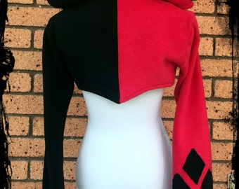 Harley Quinn Inspired Fleece Hooded Shrug, Choose Size  S M L XL XXL - Made to Order - DC Comics Jacket Batman Joker Winter Costume Cosplay