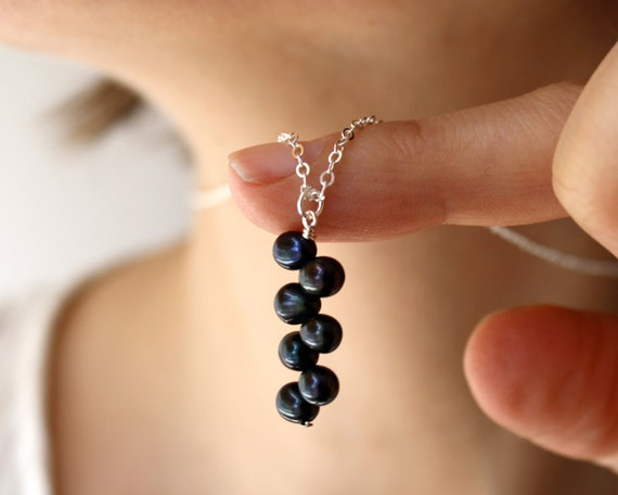 Navy Blue Necklace . Blue Pearl Necklace . Midnight Blue Pendant Necklace Pearl . Wire Wrap Necklace Sterling Silver - Nexus Collection