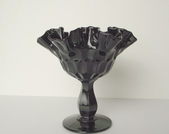 Black Tiara Indiana Glass Thumbprint  Molded Footed Compote Dish Ruffled Edge Fluted Candy Dish Trinket