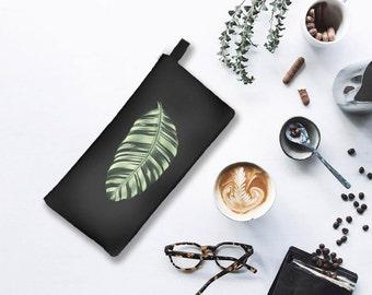 Noir Leaf Clutch HOLLYWOOD BOTANICA Tropical Leaf Print Cosmetic Pencil Case