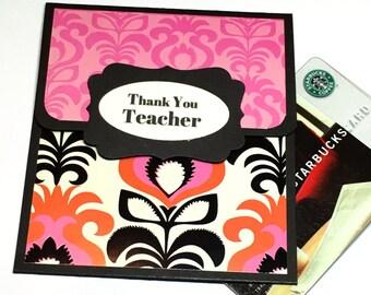 Teacher Cards, Teacher Gift Card Holder, Teacher Thank You Gift Card Sleeve, School Cards, Teacher Money Cards, Teacher Appreciation Day