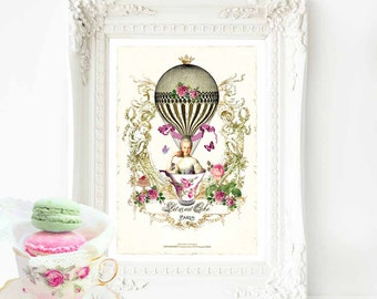 Marie Antoinette,  Let them eat cake print, French vintage decor, A4 giclee