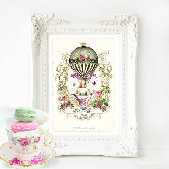 Marie Antoinette print, Let them eat cake, hot air balloon, vintage decor, vintage art, Paris, French vintage decor, kitchen print