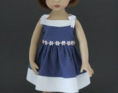 Royally Blue pin dot sundress with daisy trim and headband designed for Dianna Effner Little Darlings dolls by Matilda Pink