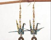 Earrings Birthday Gift for Wife,Blue Earrings,Paper Art Jewelry,Paper Earrings Online,Origami Gifts for Friends,Origami Birthday Gifts