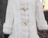 60s XS S Faux Leather Coat Fur Collar Russian Princess Boho Hippie NWT Vintage 1960s NEW Never Worn