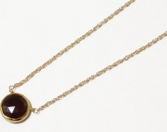 Real Garnet Necklace Gold Bezel Necklace Genuine Garnet Necklace January Birthstone Genuine Garnet Necklace Garnet Jewelry BZ-P-105-Garnet/g