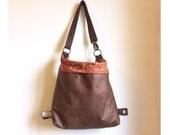 Faux leather Chic backpack, Shoulder hobo purse Convertible backpack Vegan shoulder bag women handmade purse soft lightweight leather like