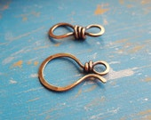 Large Rustic Copper Clasp, Hammered Distressed Hook and Eye Handmade Artisan Findings, Classic II, 18 gauge