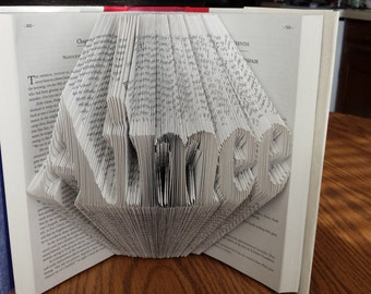 Custom Name Folded Book Art - Any Name or Word from 3 to 7 Letters - Basic Font