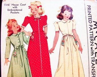 1940s Girls Robe Pattern McCall Girl Size 8 UNCUT Girls' House Coat Vintage Sewing Pattern 40s with Embroidery Transfer