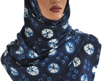 Hijab Head Wrap Rectangle Tie Dye Cotton Linen