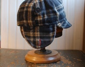 Flapjack M: winter warm earflap hat in grey plaid wool tweed