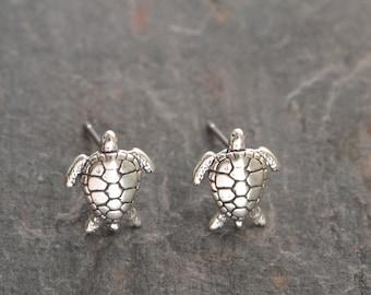 Sterling Silver Sea Turtle Earrings