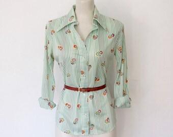 Vintage 1970s College Town Blouse / Green & White Striped / Floral Print Button-down Shirt / Disco Top