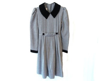 80s GINGHAM Black And White Dress with Velvet Details Bonnie Jean Size 16