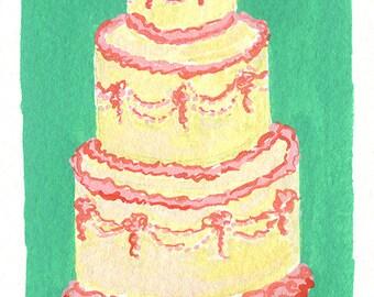 Original Art, Wedding Cake Gouache Painting