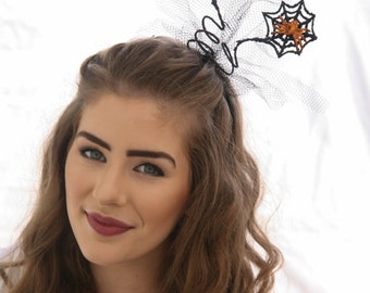 Spider Fascinator Headband Halloween Costume Halloween Hair Accessory Black Headband with Orange Spiders and Web, Adult Halloween Costume