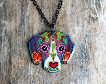 Beagle Day of the Dead Sugar Skull Dog Necklace