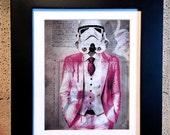 Stormtrooper Pink suit - Storm Trooper Starwars Urbanart Street art Graffiti Newspaper Fine art Spray paint Mashup hipster art print