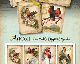 Printable download EPHEMERA BIRDS Gift tags Digital Collage Sheet 2.5x3.5 inch size vintage images scrapbooking paper greeting cards ArtCult