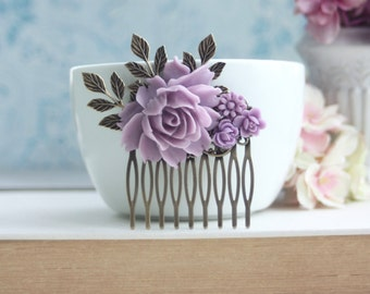 Lavender Comb Purple Flower Hair Comb Bridal Rose Hair Comb Bridal Hair Comb Lilac Wedding Hair Accessory Bridesmaid Gift Romantic Hairpiece