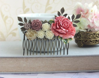 Bridal Comb, Large Floral Comb Red Gold Rose Comb Dusty Brown Red Brass Leaf, Wedding Comb, Bridesmaids Gift Shabby Rustic Chic Country Chic