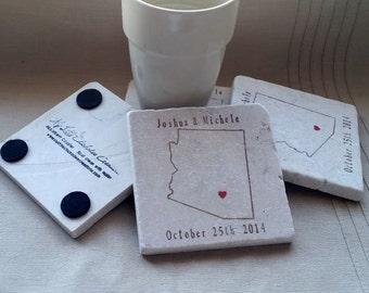 Personalized Arizona Wedding Favor Coasters - Groomsmen Gift - Set of 25