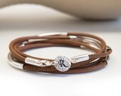 Personalized Leather and Sterling Silver Bracelet Initial Stamped Bracelet Stamping Charm Monogram Single Initial Leather Wrap Bracelet .925