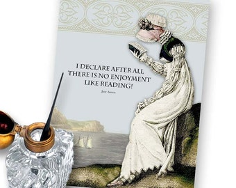 Digital Download - There is No Enjoyment Like Reading - Jane Austen -  5x7 Print-it-Yourself Note Card