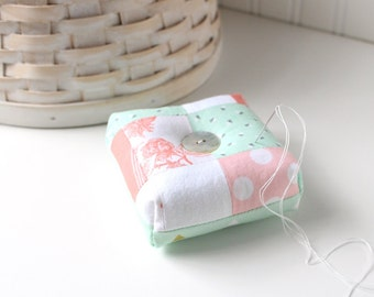 Peach and Mint Square Pincushion Pastel Floral Pin Keep Scrappy Pin Cushion