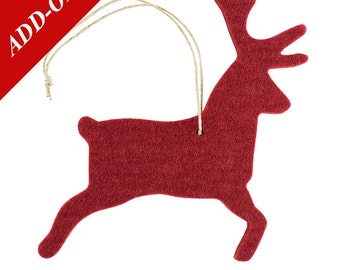 Wool Felt Reindeer Ornaments - Red or Brown, Multiple Pack Sizes Available, Add-On Item, Christmas Decoration