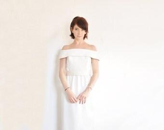 modern bride wedding dress . Black Tie Oleg Cassini . off the shoulder column gown .medium .sale