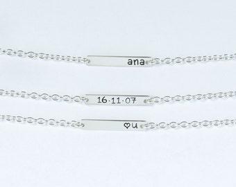 Sterling silver Name Bracelet, Personalized bar bracelet, Love Gift, Dainty Name Plate Bracelet,Custom bracelet