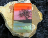 Dichroic Glass Pendant - Fused Glass Jewelry - Dichroic Glass - Fused Glass Pendant - Fused Glass UK - Landscape Glass Pendant - Sunset