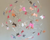 Butterfly Mobile, Hanging Baby Mobile, Baby Girl Nursery Decor, Peach Baby Crib Mobiles