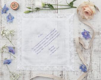 Personalised Handkerchief, Custom Handkerchief, Printed Handkerchief, Mother of Bride Handkerchief, Mother of Groom Handkerchief In Gift Box