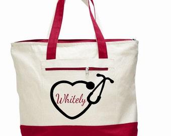 Nurse bag, nursing tote, personalized nurse bag, pinning ceremony gift, monogram bag, gift for nurse, canvas stethoscope bag, health worker