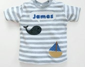 Personalized Baby Whale T-Shirt : 3-6 months, 6-12 months, 12-18 months, 18-24 months
