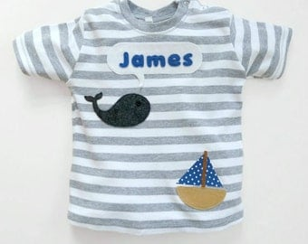 Personalized Baby Whale T-Shirt : New Baby Gift, Baby Boy, Baby Girl, Baby Shower Gift