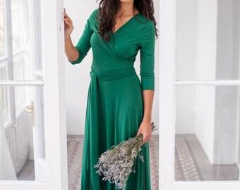 Emerald Green Dress, Long Green Wrap Dress, Convertible Dress, Infinity Long Sleeve Dress, Emerald Green Prom Dress, Convertible Green Dress
