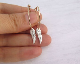 Tiny feather earrings, Tiny gold hoops, Boho hoops, 14k gold filled and sterling silver tiny hoops, Boho jewelry