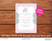 Printable Pink Gray Elephant with Polka Dots Baby Shower Invitation - EDiTABLE - INSTANT DOWNLOAd