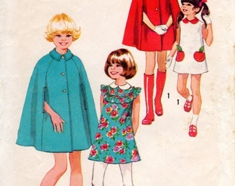 1970s Girls Hooded Cape and Dress - Vintage Pattern Simplicity 9899 - Size 4