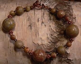 gemstone bracelet, chinese rainbow jasper, jasper bracelet, chunky bracelet, copper and taupe, boho bracelet, gift for women, gift under 20